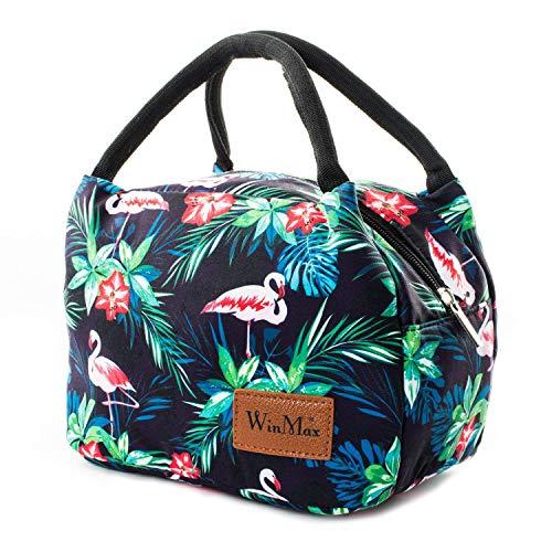Tasche für Lunch | Kleine Faltbare Kühltasche Isoliertasche Thermo-Tasche | Frühstücks-Tasche Lunchtasche | Arbeit Schule Kindergarten | Mini Lunch-Bag Lunch-Tasche für Einkauf Baby-Flaschen Flamingo