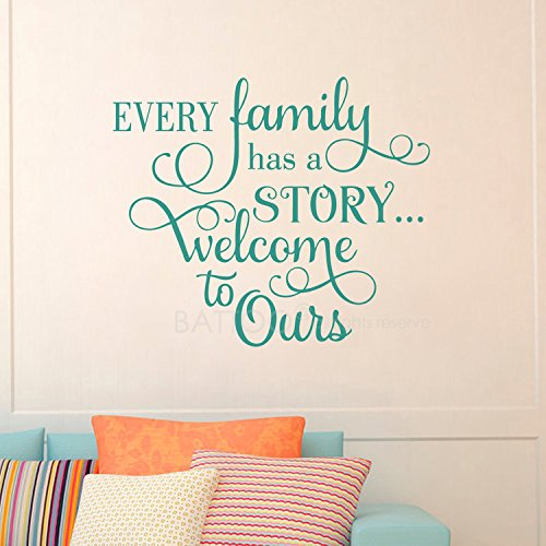 "BATTOO Every Family has a Story Welcome to Ours, Family Wall Decal Quotes Photo Gallery Wall Decal 16"" W 14"" H, Living Room Wall Decal Sticker, Teal"