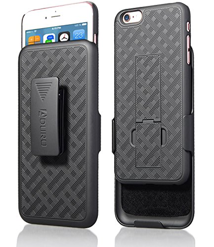 iPhone 6S Plus / 6 Plus (ONLY) Case, Aduro COMBO Shell & Holster Case Super Slim Shell Case w/ Built-In Kickstand + Swivel Belt Clip Holster for Apple iPhone 6S Plus / 6 Plus