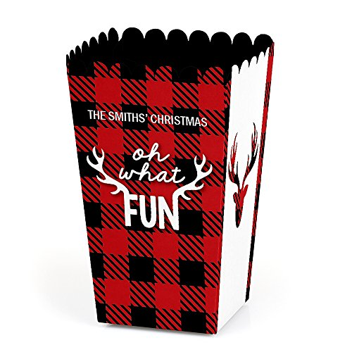 Big Dot of Happiness Personalized Prancing Plaid - Custom Christmas & Holiday Buffalo Plaid Party Favor Popcorn Treat Boxes - Custom Text - Set of 12