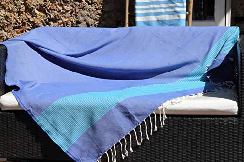 Toalla de playa gigante XXL muy grande, 150 x 250 cm – Azul griego y verde turquesa – Toalla de playa XXL – 100% algodón y suavidad