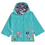 trudge Chubasquero para niña, chaqueta de exterior para niños, resistente al viento y a la lluvia, con capucha, diseño de flores, 90 – 140 cm, azul, 110 cm