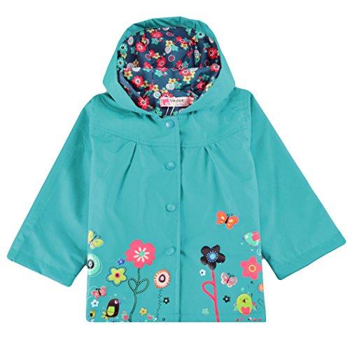 Trudge trudge Mädchen Regenjacke Trenchcoat Outdoorjacke für Kinder Winddicht Regenfest Mit Kapuze Doppelschicht Blumenmuster 90-140CM