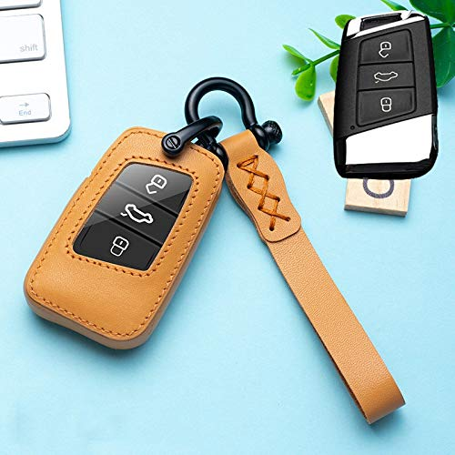 Leather Car Key Protection Remote Key Cover Case Suitable For Skoda Superb A7 For Volkwagen Passat B8 VW Golf Gte Car Styling Ring (Color Name : Brown)