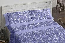 Burrito Blanco Juego de Sábanas 964 con Diseño Ornamental para Cama Individual de 90x190 hasta 90x200 cm/Juego de Cama 90, Color Azul