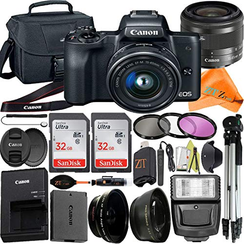 Canon EOS M50 Mirrorless Digital Camera 24.1MP with EF-M 15-45mm f/3.5-6.3 is STM Lens + ZeeTech Accessory Bundle, 2 Pack SanDisk 32GB Memory Card, Bag, Tripod and Flash Light