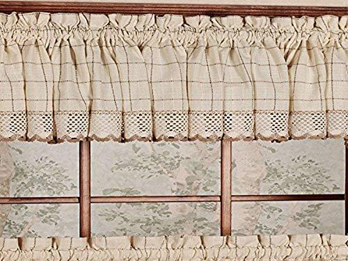 Sweet Home Collection Cotton Kitchen Window Curtains Pair, Valance, Adirondack Toast