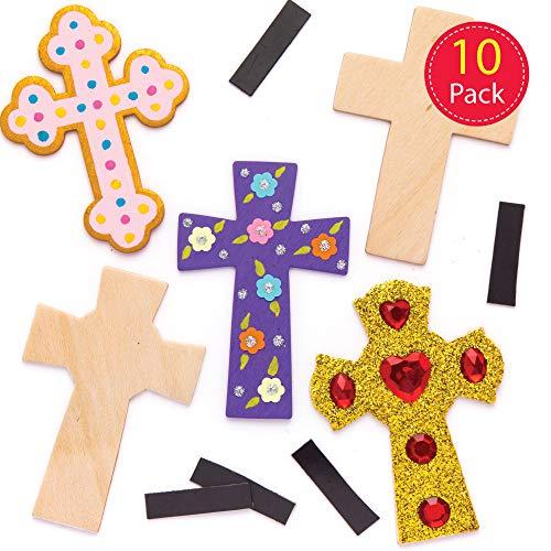 """Baker Ross Holzmagneten """"Kreuz"""" (10 Stück) – Bastelidee zu Ostern für Kinder zum Verzieren und als Dekoidee"""