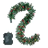 JOYIN 9 Foot by 10 Inch Artificial Christmas Garland Prelit with 50 Warm Clear Lights