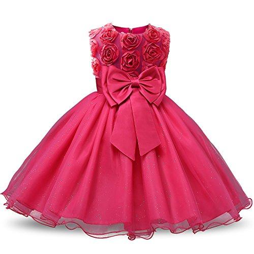 NNJXD Vestido de Fiesta de Princesa con Encaje de Flor de 3D sin Mangas para Niñas (3-4 Años, Rose 1)