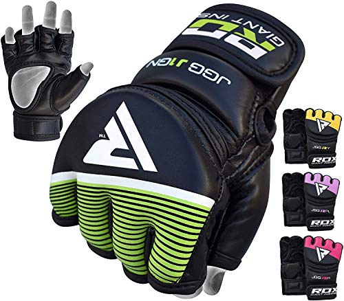 RDX MMA Handschuhe Kinder Kampfsport Boxsack Sparring Training Grappling Gloves Junior Freefight Sandsack Maya Hide Leder Punchinghandschuh (MEHRWEG)