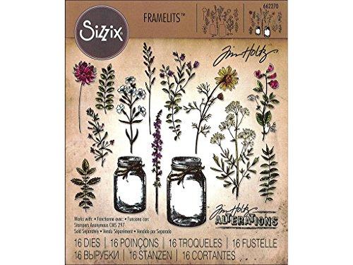 Sizzix Framelits stanzen Set 23 Stück - Blumenglas von Tim Holtz, Steel, Silver, 21 x 10.8 x 0.2 cm