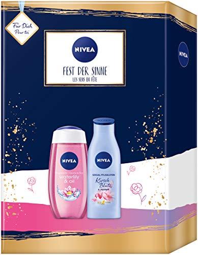 NIVEA Fest der Sinne Geschenkset, Set mit Body Lotion und Pflegedusche, Wellness Geschenk mit Pflegeprodukten für besondere Wohlfühlmomente