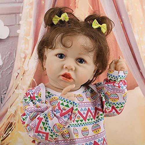 Muñecas Renacidas Realistas,Muñecas de Bebé de Vinilo de Silicona Suave Realista de 22 Pulgadas Silicona Bebé Real Bebés Recién Nacido Mejor Set de Cumpleaños para Niños Mayores de 3 Años