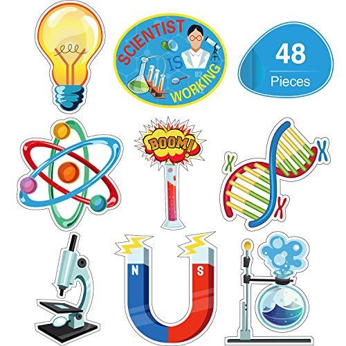 48 Stücke Wissenschaft Bulletin Board Sets Laminierte Wissenschaft Ausschnitte Labor Wissenschaft Thema Party Ausschnitte für Schule Klassenzimmer Bulletin Board Büro Dekoration Zubehör, 8 Designs