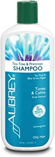Aubrey Tea Tree & Primrose Shampoo | Tones & Calms Oily Scalp | Blue Green Algae & Evening Primrose | 75% Organic Ingredients | Oily Hair | 11oz