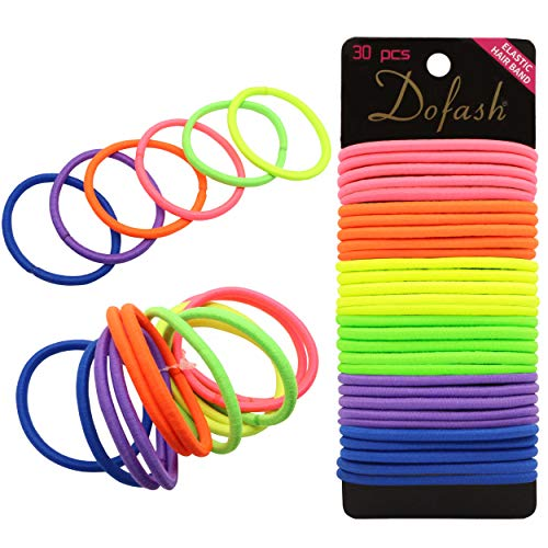 Dofash 30Pcs Super Ponytail Holders Multi-Fluorescent Color Elastic Hair Ties No Crease Metal-Free Hair Bands - LITTLE PONY