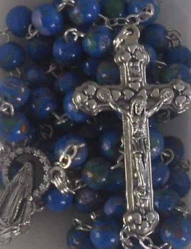 Rosario perles-perles bleues-rosary. Perfect primera Comunión regalo de día para un Éclat Boy.Our Lady