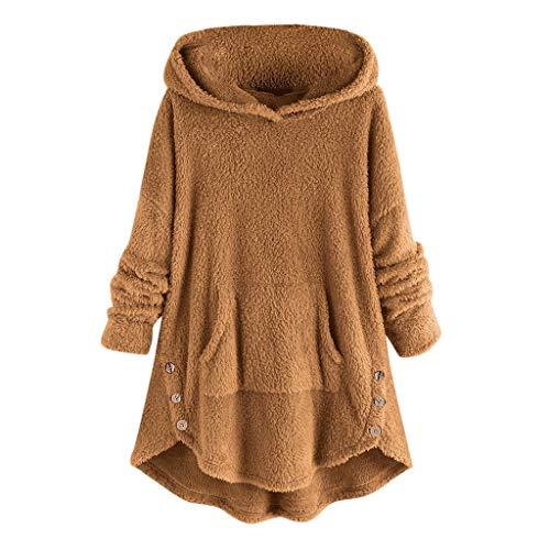 Damen Plus GrößE Winter PlüSch Hoodie Frauen Flanell Jacke Samt Kapuzenmantel Sherpa Outerwear Dick Faux Fleece Tops(Gelb,5XL)