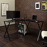 Walker Edison Wright Modern X Leg Glass Top Corner Gaming Desk, 51 Inch, White