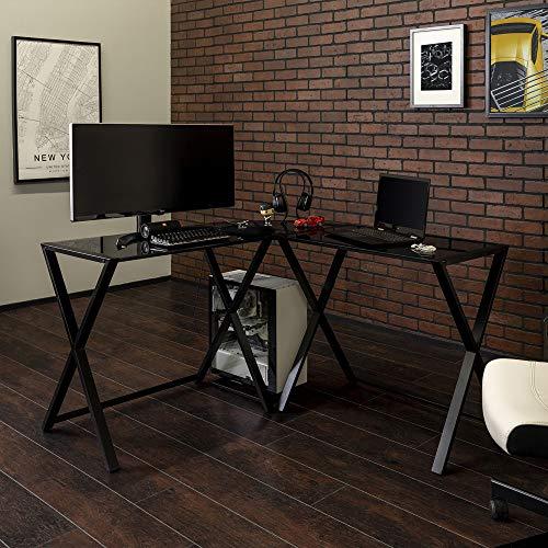 WE Furniture Elite Soreno Glass Corner Computer Desk
