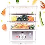 Duronic FS87 Vaporera eléctrica 870W, Capacidad de 10.6 L, 3 recipientes, Temporizador, Pantalla LCD Digital, Bandeja antigoteo y sin BPA - Ideal para cocinar Verduras, Pescado, arroz, etc.