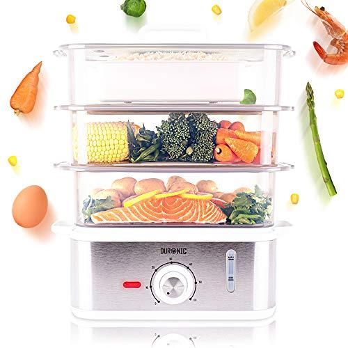 Duronic FS87 Dampfgarer 870 W - 3 Dampfgarbehälter BPA-frei – Wasserstandsanzeige – Reisschale - 10,6 L Kapazität – Timer - Ideal für Gemüse, Reis, Fisch und mehr ohne Fett