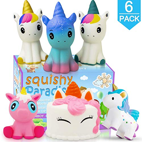 POKONBOY Unicorn Squishy Jumbo Squishies- 6 Pack Narwhal Squishy Unicorn Cake Scented Squishies Pack Slow Rising Squishies Stress Reliever Toys for Girls and Boys Unicorn Party Favors