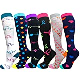 Calcetines de compresión para mujer y mujer, 6 pares de medias de compresión de vuelo de 20-30 mmHg para embarazo, atlético, correr, ciclismo, viajes