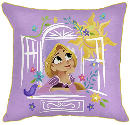 """Disney Tangled There Is More 14"""" x 14"""" Decorative Toss Throw Pillow, Purple/Gold"""