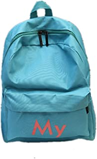 Canvas Vintage Backpack Leather Casual Bookbag Men Women Laptop Travel Rucksack (Turquoise One Size)