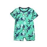 0-12 Months Newborn Infant Kids Baby Boys Girls Summer Cartoon Dinosaur Printed Bodysuit Short Sleeve T-Shirt Tops (Green, 9-12 Months)