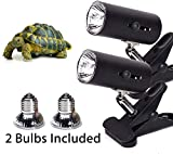 2-Pack Black 50W UVA UVB Lamp Lights with Bulbs | Heat and Light for Reptiles and Amphibian Tanks, Terrariums | Adjustable and Rotates 360° | Clip or Hang Light | Works with Various Light Bulbs