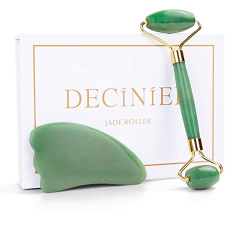 Deciniee Jade Roller for Face - 100% Real Natural Jade Face Roller and Gua Sha Massage Skin Care Tool - Anti Aging Jade Face Massager Facial Roller for Eye, Neck and Body
