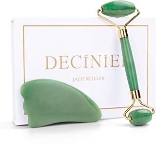 Deciniee Jade Roller and Gua Sha Tools Set - 100% Real Natural Nephrite Jade Roller Facial Roller Massager for Face/Eye/Neck - Provide Relaxion for Women-Anti Aging-Rejuvenate Your Skin
