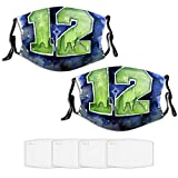 Seat_tle Sea-Hawks 2 PC Face Mask Adjustable Tightness with Button Face Mouth for Kids Teens Men Women with 4 filte