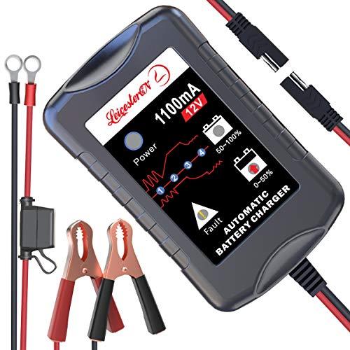 LEICESTERCN Motorradbatterie Ladegeräte 12V 1.1A Vollautomatisches Ladegerät Erhaltungsladegerät 4-Stufen Autobatterie Batterie Ladegerät für Auto Motorrad KFZ PKW-EU Stecker