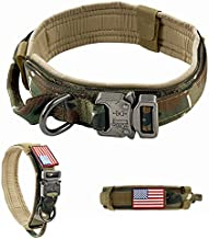 VOLJEE Adjustable Tactical Dog Collar, K9 Military Dog Collar with USA Flag Patch Heavy Duty Buckle Metal D-Ring Handle 1.5