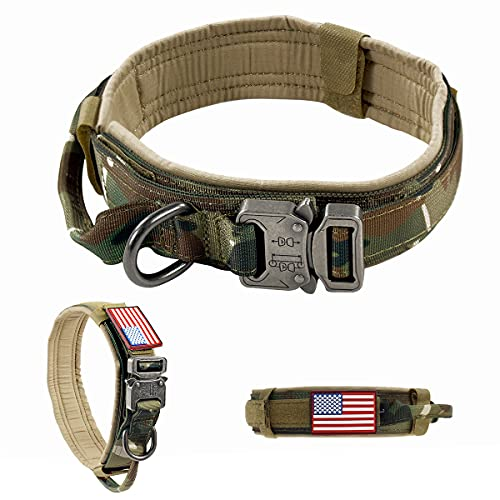 VOLJEE Adjustable Tactical Dog Collar, K9 Military Dog Collar with USA Flag Patch Heavy Duty Buckle Metal D-Ring Handle 1.5' Wide for Medium and Large Dogs (Camo, M)