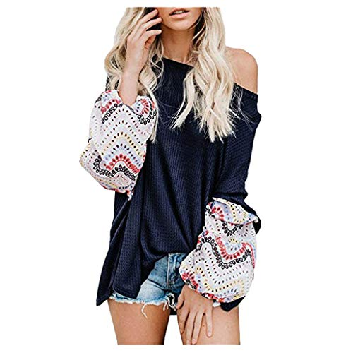 UJUNAOR Women's Long Sleeve T-Shirt Pullover Crew Neck Tunic Top Casual Top Blouse Shirt Women Off Shoulder Oversized Printed Long Sleeve Shirts Pullover Sweatshirts - Black - M