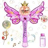 WolinTek Maquina Burbujas para Niños, Máquina de Burbujas de Varita Hadas Mariposa con Música y Luz, Soplador de Pompas Jabon Bubble Maker para Niños y Adultos para Bodas,Fiestas, Cumpleaños