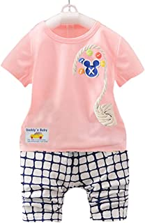 Hopscotch Boys' Poly Cotton Check Pattern Half Sleeves T-Shirt and Pant Set in Pink
