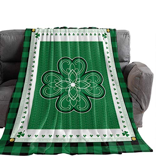 Manta Para Blanket Día de San Patricio Nudos celtas Lucky Ligero Transpirable Cálido y acogedor Manta de tiro Buffalo Plaid Mantas Para 60'x50'