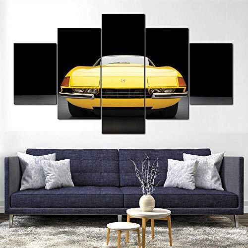 TTTRR 5 Piezas Moderno Cuadro En Lienzo - Ferrar 365 GTS Daytona - 5 Piezas Cuadro sobre Lienzo - Enmarcado 150*80 Cm, Moderno Oficina Salón Dormitorio Pared Decoración ⭐