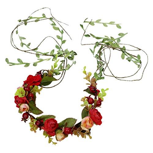Q Vine Flower Flower Wreath Nueva Diadema Corona Festival Boda F (Color : A)