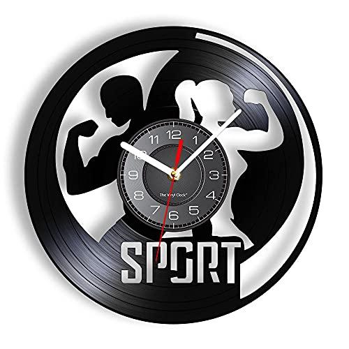 BBZZL Manténgase en Forma Deportes temáticos Vinilo LP músculo Reloj de Pared Hombres y Mujeres Ejercicio Reloj de Pared con luz de Fondo LED Culturista y Gimnasio Regalos Sin LED