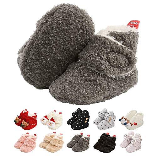Neugeborene Warme Winterschuhe, Bio Baumwoll-Futter und rutschfeste Streifen Bootie Sock Schuhe Winter Weiche Sohle Krabbelschuhe Gr.0-18 Monate Baby Jungen Mädchen Prewalker Kleinkind Schuhe