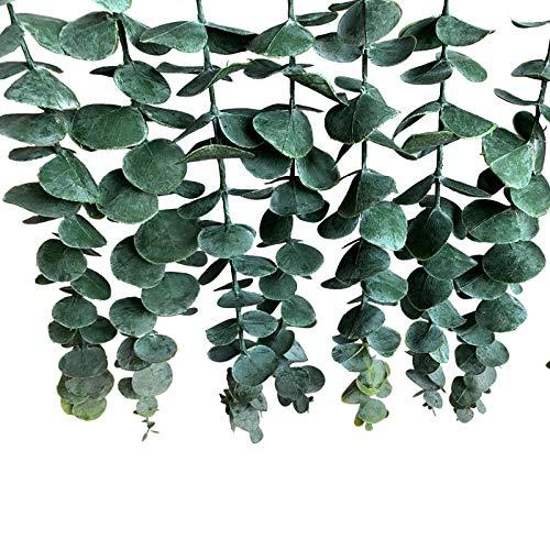 HUIKJI Flor de eucalipto colgante de pared, imitación seda de eucalipto, guirnalda de decoración de pared con palo de madera para dormitorio, cocina, oficina y baño, 40 x 50 cm