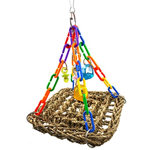 Goneryisour Bird Parrot Climbing Foragaing Chew Swing,Tappetino di Seagrass con parti colorate