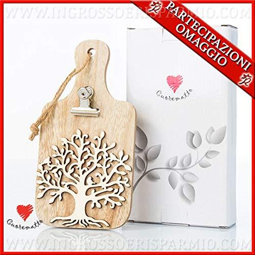 Ingrosso e Risparmio Cuorematto – Tabla de cortar de madera con árbol de la vida y pinza memoclip, detalles originales, solidarios para boda, con caja de regalo incluida
